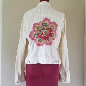 Lucky Brand Denim Embroidered Jacket